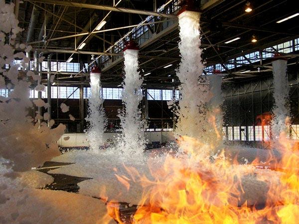 Sistema de extinción de incendios por espuma